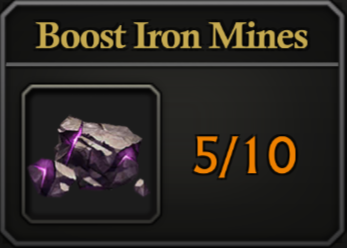 Daily Activity Points - Boost Iron mines.